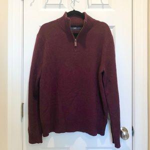 Maroon JCrew 3/4 Zip Sweater